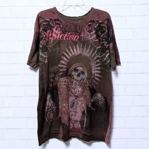 Affliction Shirts - Men's Affliction Red Skull Distressed T-Shirt XL